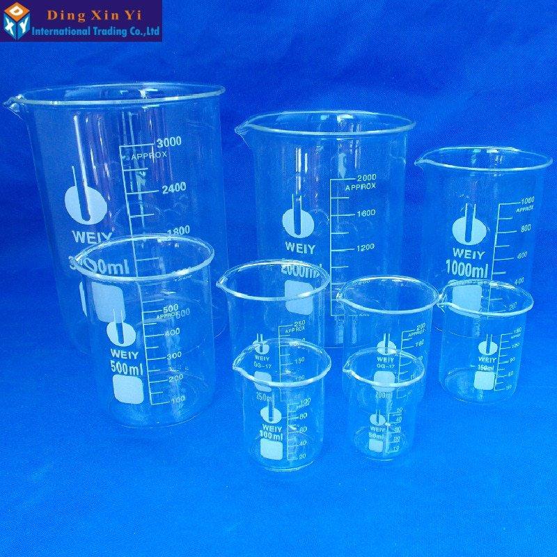 Capacity 50ml-3000ml Low Form Beaker Chemistry Laboratory Borosilicate Glass Transparent Beaker flas