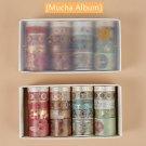 20pcs Vintage Gold Color Paper Washi Tape Set Luxury Palace Spring Flower Star Adhesive Decoration M