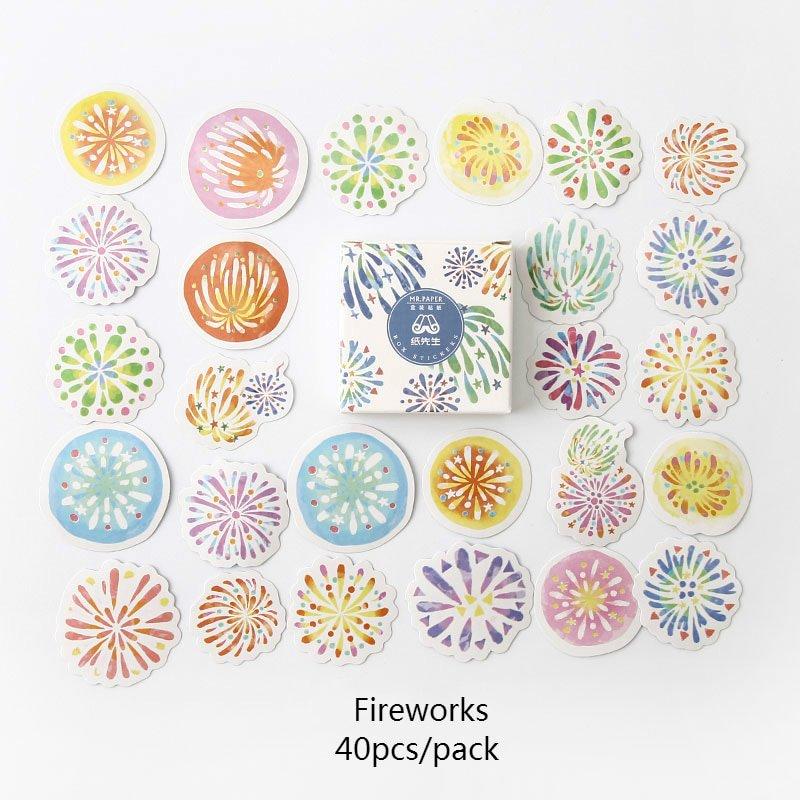 YUEGUANGXIA 40 Pcs/box Cute Candy Kawaii Diary Handmade Adhesive Paper Flake Japan Stickers Scrapboo