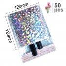 50PCS/Pack Laser Silver Packaging Shipping Bubble Mailer Gold Foil Plastic Padded Envelope Gift Bag