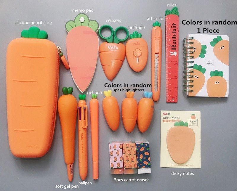 2020 Sharkbang Creative Carrot Series Silicone Soft Pencil Case Penholder Organizer Bag Kawaii Stati