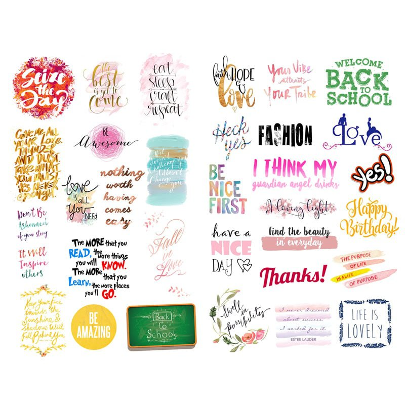 1 PCS Black Text Bless Words Aesthetic Bullet Journal Stickers Scrapbooking Stationery Little Sticke