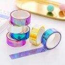6Colors Set Rainbow Laser Washi Tape Glitter Stationery Scrapbooking Decorative Adhesive Tapes DIY M