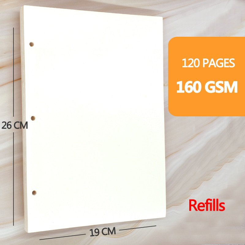 Retro Spiral Sketchbook Linen hardcover, 120 pages 160 GSM, Refillable Suitable for pencils, fountai