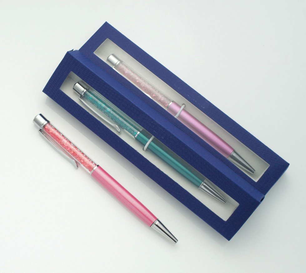 Creative Diamond on top Crystal ballpoint pen with gift box case promotional items gift pen - Blue,