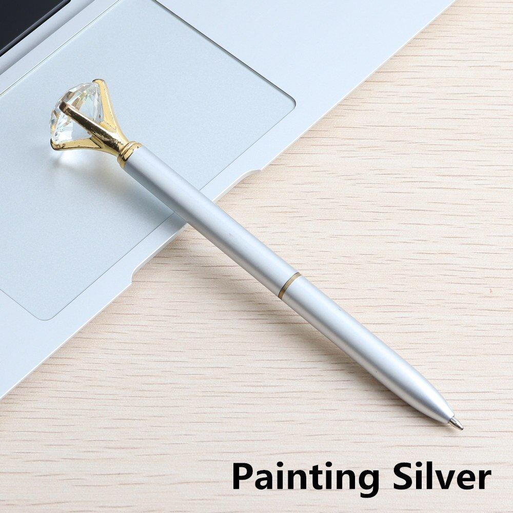 GENKKY Kawaii Ballpoint Pen Big Gem Metal Ball Pen With Large Diamond Blue And Black Magical Pens Fa