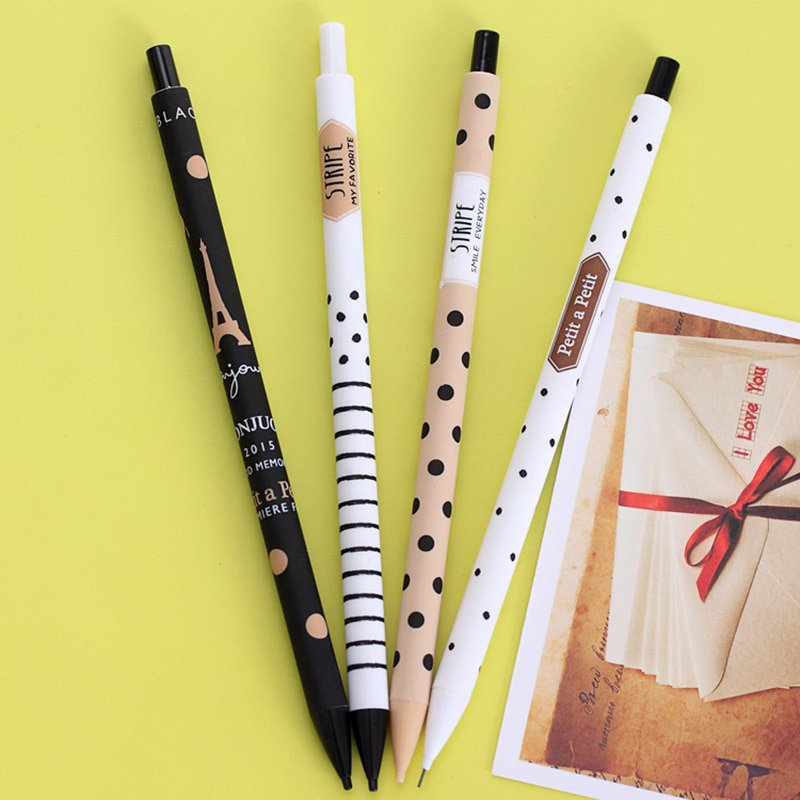 4PCS Lovely New 0.5mm Creative Cute Plastic Mechanical Pencil Dots Tower Automatic Pen For Kid Schoo