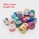 20pcs Mini Colorful Washi Tape Set Waterproof Painting Decorative Tape DIY Stickers Scrapbooking Lab