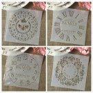 4Pcs 6*6inch Clock Bee Family Dial DIY Layering Stencils Painting Scrapbook Coloring Embossing Album