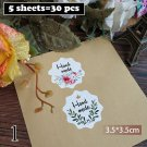 5Sheets=30Pcs Sealing Label Stickers Thank you Adhesive Stickers Handmade Paper Stickers For Gifts G