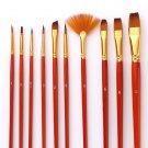 10Pcs Paint Brushes Set Nylon Hair Painting Brush Short Rod Oil Acrylic Brush Watercolor Pen Profess