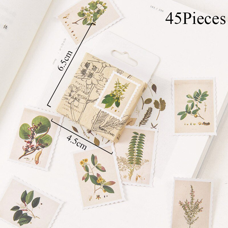 45pcs/box Stationery Stickers Vintage Stamp Sealing Label Travel Stickers Decorations Scrapbooking D