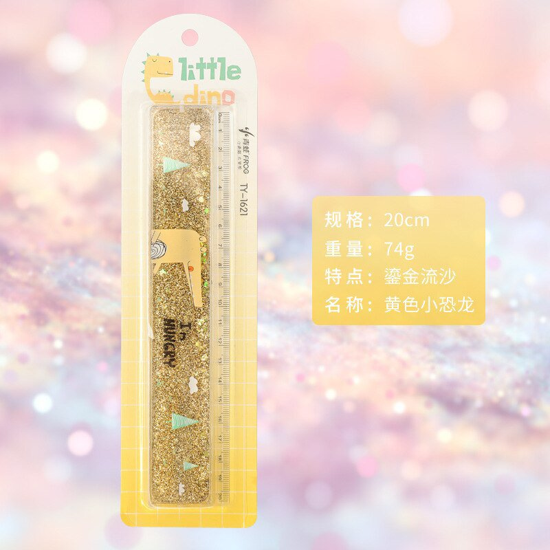 1 pc Creative Cute Ruler Sequin Quicksand 20cm Kawaii Student Rulers Stationery School Office Learni