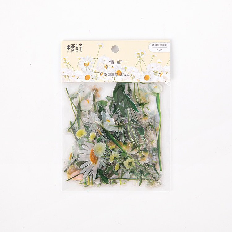 Mr.paper 6 Designs Flowers Series Deco Die Cutting Diary Stickers Scrapbooking Planner Bullet Journa