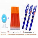 14Pcs/ lot Erasable Refill Rod Washable Handle Erasable Ballpoint Pen 0.38mm Blue Black Ink School O