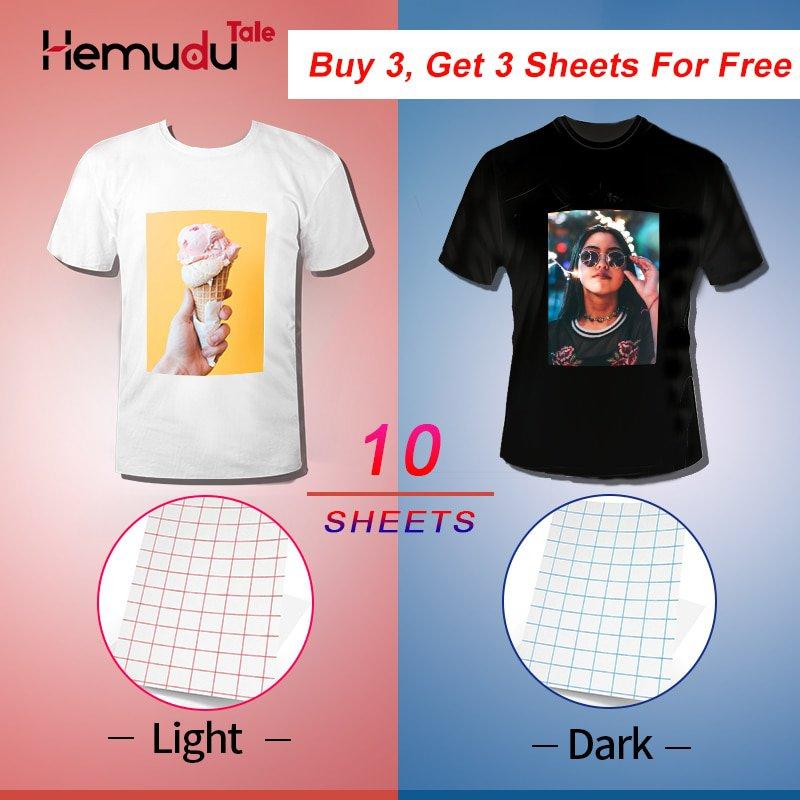 A4  10 sheets T-Shirt Transfer Photo Paper Inkjet for Dark or Light Color Fabric Cotton Garment - Li