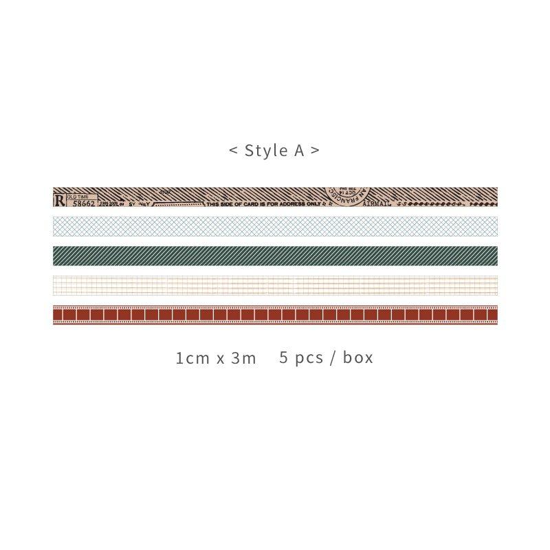 Mr.Paper 5pcs/box 8 Design Salt Forest Series Spots Color Scrapbook Cut-off Rule Washi Tape Bullet J