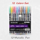 12/24/36/48 Colors/set Highlighter Glitter Gel Pen for Coloring Books Journals Drawing Doodling Pain