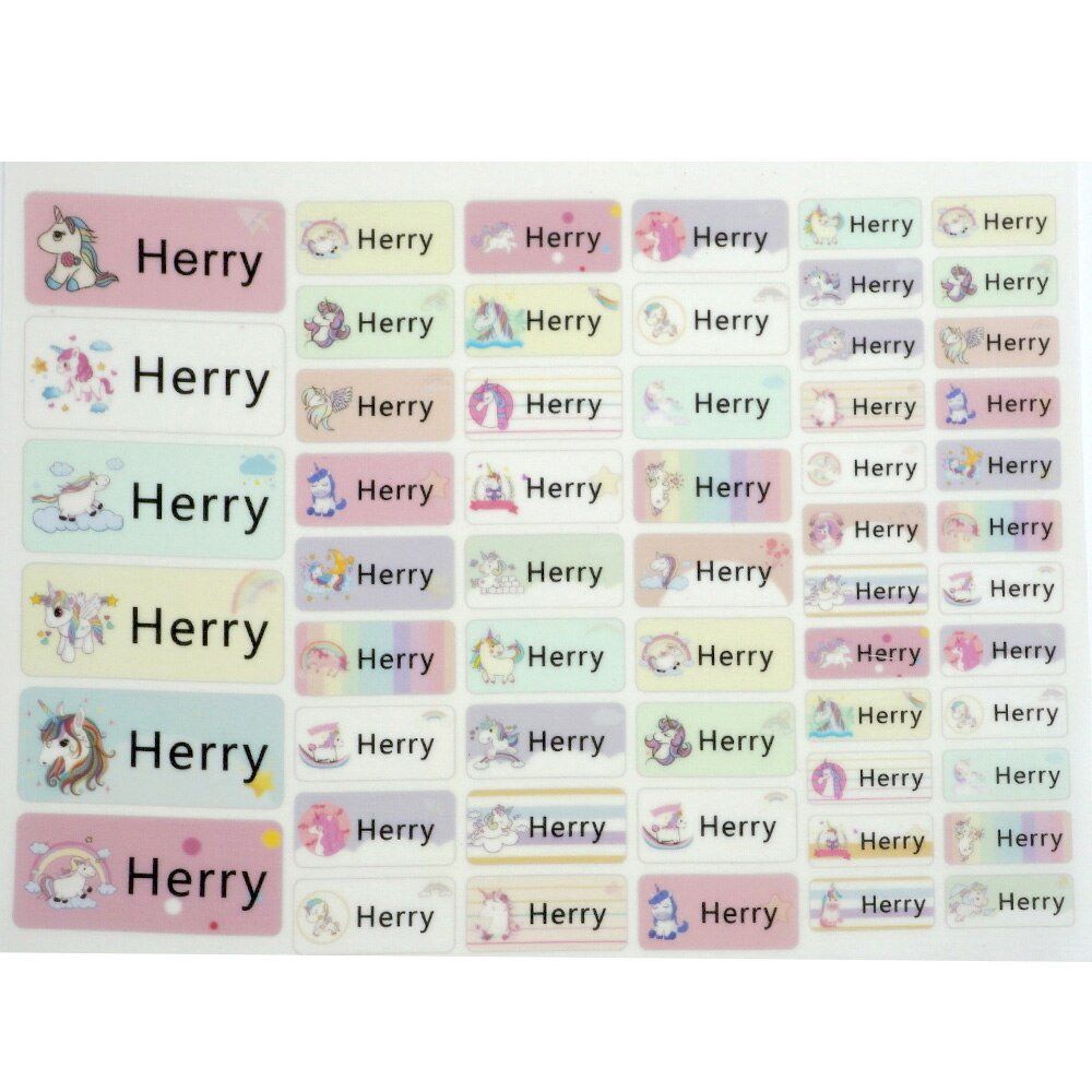 Cartoon Pattern Iron On Label Clothes Custom Name Tags Waterproof Fabric Personalized Sticker School