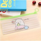 1 Pcs Kawaii Transparent Pencil Cases Simple Pull Ring Design Office Pencil Bag Cute For Student Sch