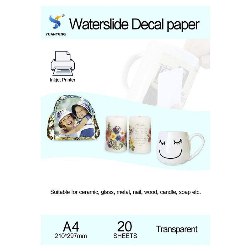 (20pcs/lot) A4 Size Inkjet Water Slide Decal Transfer Paper Transparent Printing Paper Clear Inkjet