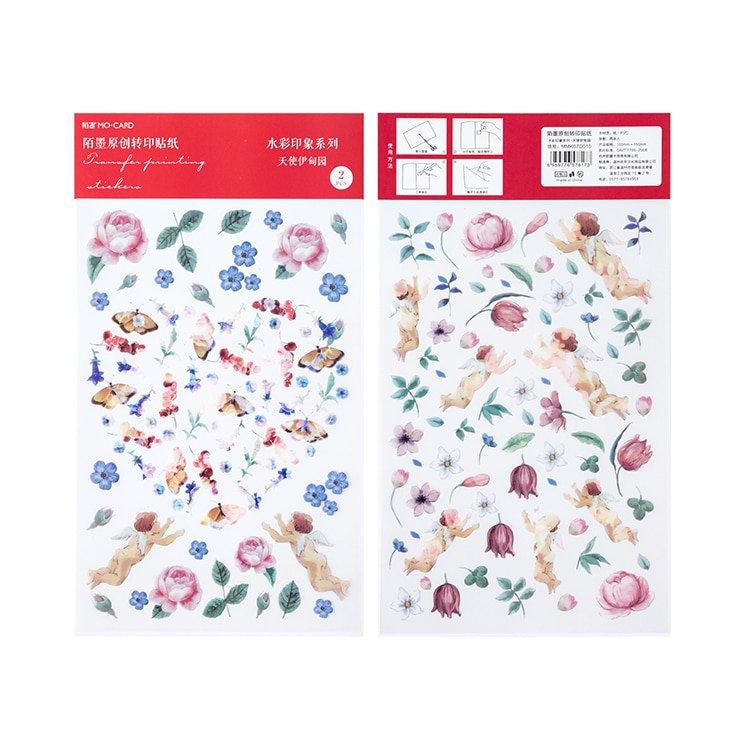 Mr.paper 12 Designs Watercolor Impression  Flowers Plant Deco Diary Stickers Scrapbooking Planner De