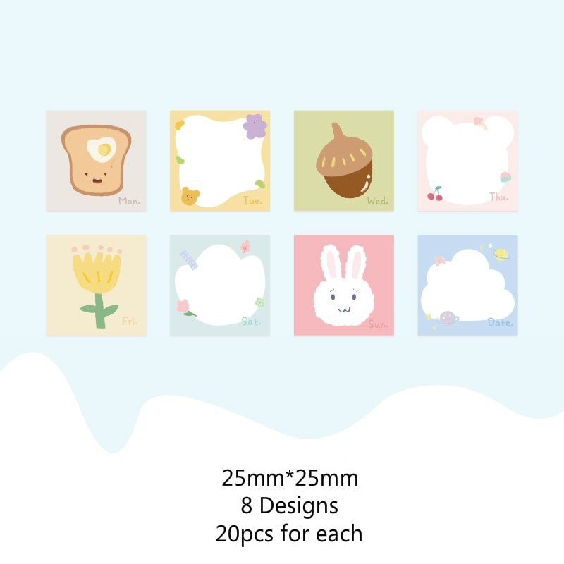 Mr.paper 20Pcs/pack 4 Designs Adorable Pet Rainy Small Weekend Creative Stickers Bullet Journal Deco