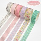 6 Pcs/Set Cute Grid Leaves Washi Tape Kawaii Unicorn Cat Masking Tape Decorative Adhsive Tape Sticke
