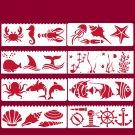 8Pcs 17*6cm Sea Ocean Animals Fish DIY Layering Stencils Painting Scrapbook Coloring Embossing Album