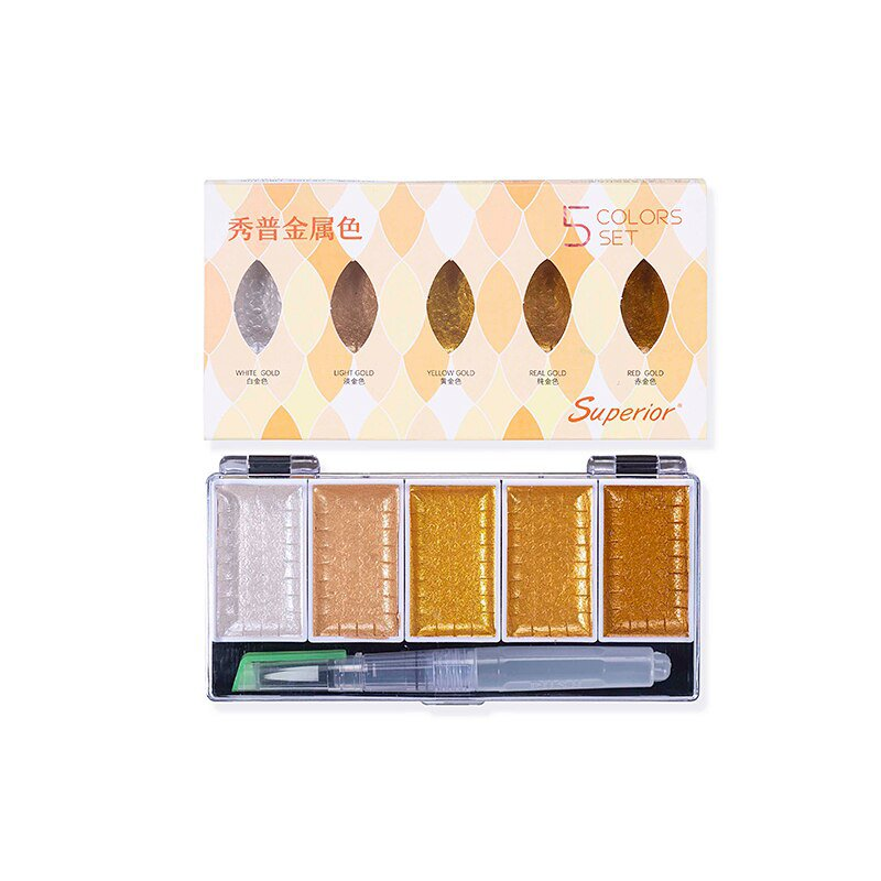 Superior 5/8Color Metallic Pearl Watercolor Pigment Set Gold Paint With Waterbrush for Artist Painti