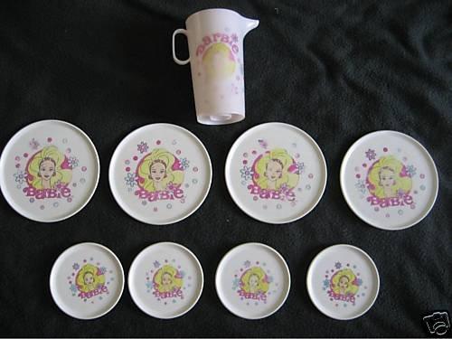 BARBIE DOLL PLATES TEA SET PLAY FOOD PLATES PLAY