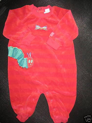 CARTERS LOT ERIC CARLE STRIPED FOOTED SLEEPER 6-9MO