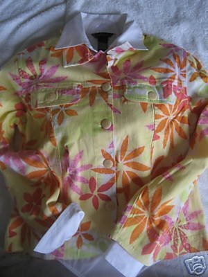 COLDWATER CREEK FLORAL STARBURST JACKET PETITE PS SMALL