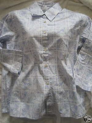 NEW COLDWATER CREEK BLUE WHITE FLORAL PANE SHIRT S SMAL