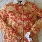 NEW COLDWATER CREEK FLORAL LINEN JACKET TOP PETITE PS