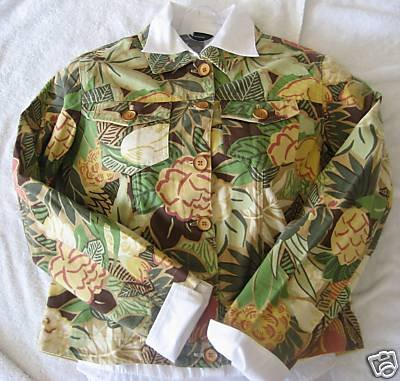 NEW COLDWATER CREEK JUNGLE FLORAL JACKET PETITE PS