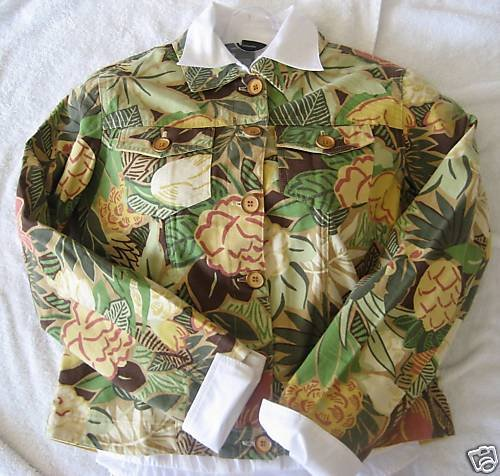 NEW COLDWATER CREEK JUNGLE FLORAL JACKET PETITE PXS PP