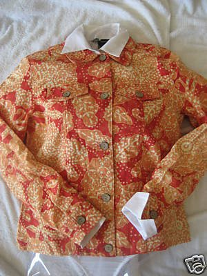NEW COLDWATER CREEK PRETTY FLORAL LINEN JACKET M MEDIUM