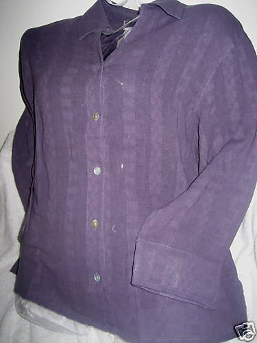 NEW COLDWATER CREEK purple textured L/S SHIRT TOP SMALL