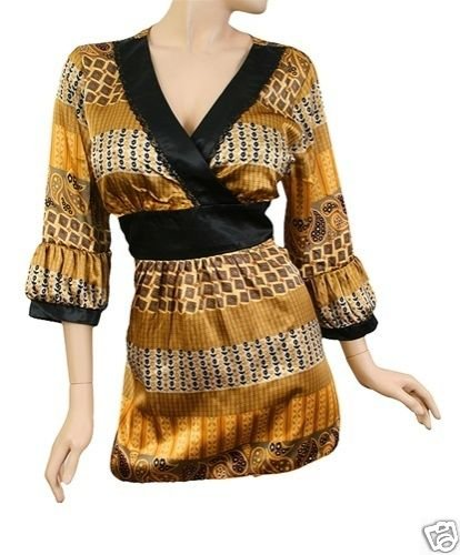 NEW GOLD BLING SATIN  EMPIRE KIMONO TUNIC TOP SHIRT 1X