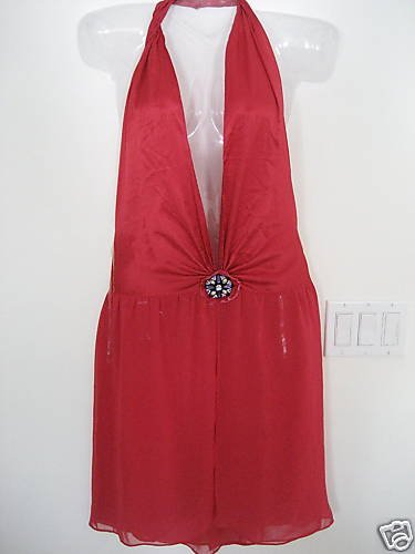 NEW VICTORIA SECRET JEWELED HALTER PLUNGE GOWN RED XS