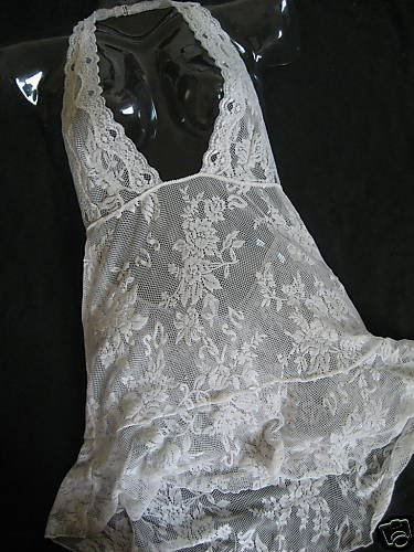 NEW VICTORIA SECRET LACE HALTER GOWN SEE THRU BRIDAL  M
