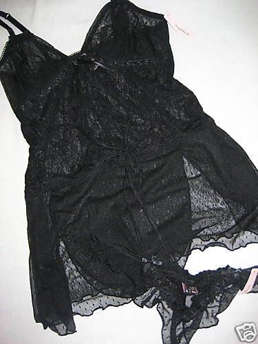 NWT SEXY RUFFLE LACE BABYDOLL THONG LOT S/M BLACK