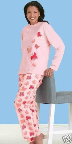 NEW COZY FLANNEL PJ LOUNGE SET BUTTERFLY 2X 20W-22W