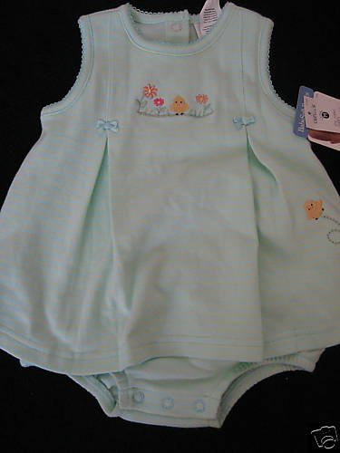NWT CARTER LITTLE CHICK SUNSUIT DRESS 3-6MO STRIPE