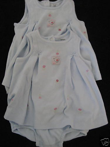 NEW CARTERS TWIN GIRL LOT KEEP COOL SUNSUITS DRESS 12MO