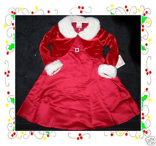NWT GIRLS HOLIDAY CHRISTMAS  MARABOU RED DRESS CAPE 6X