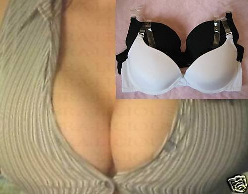 EXTREME CLEAVAGE PUSH UP AIR GEL BRA 34B CLEAR STRAPS