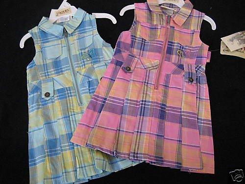 NWT CARTERS TWIN GIRLS PINK AQUA PLEATED DRESS LOT 18MO