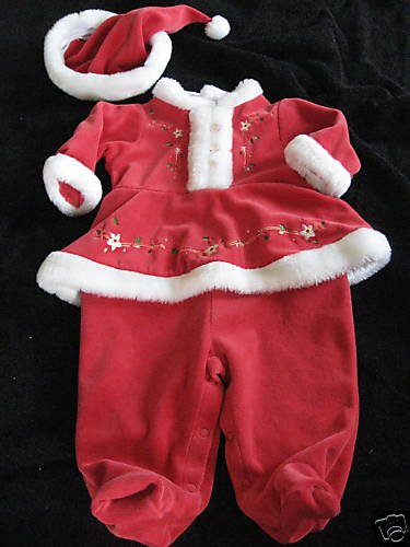 CHRISTMAS VELVET MARABOU TRIM OUTFIT HAT LOT 3-6MO TWIN